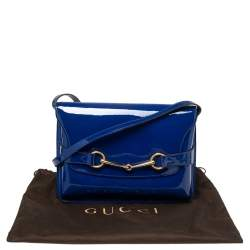 Gucci Blue Patent Leather Large Bright Bit Shoulder Bag
