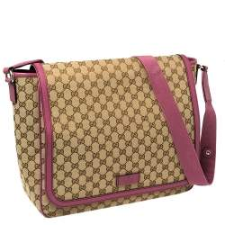 Gucci Beige/Pink GG Canvas And Leather Diaper Bag