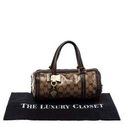 Gucci Ebony GG Crystal Canvas and Leather Small Duchessa Boston Bag