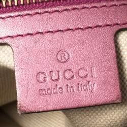 Gucci Beige/Purple GG Canvas and Leather Heart Bag Charm Satchel
