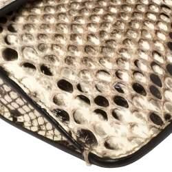 Gucci Cream/Grey Python Soft Jackie Flap Shoulder Bag