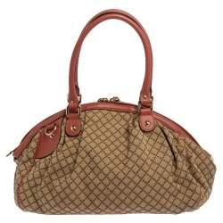 Gucci Coral Pink/Beige Diamante Canvas and Leather Medium Sukey Boston Bag