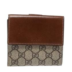 Gucci Beige/Brown Supreme Canvas and Leather French Flap Wallet