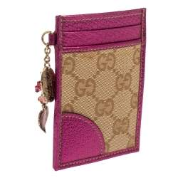 Gucci Pink/Beige GG Canvas and Leather ID Card Holder