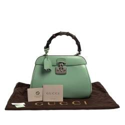 Gucci Mint Green Patent Leather Lady Lock Bamboo Top Handle Bag