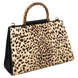 Gucci Black/Beige Leopard Print Calfhair and Leather Nymphaea Top Handle Bag