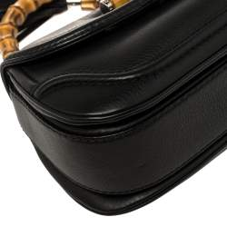 Gucci Black Leather Small New Bamboo Top Handle Bag