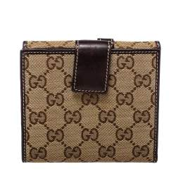 Gucci Beige/Brown GG Canvas and Leather Compact Wallet