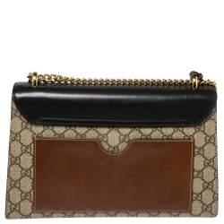 Gucci Beige/Black GG Supreme Canvas and Leather Medium Padlock Shoulder Bag
