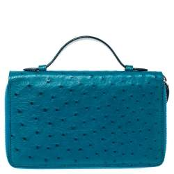 Gucci Turquoise Ostrich Travel Document Case