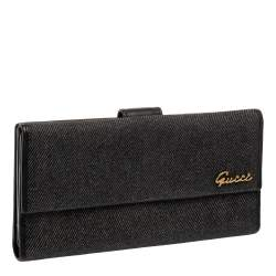 Gucci Black Denim and Leather Logo Flap Continental Wallet