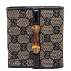 Gucci Black GG Canvas Bamboo Bar Compact Wallet