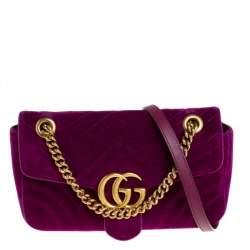 Gucci Magenta Matelasse Velvet Small GG Marmont Shoulder Bag