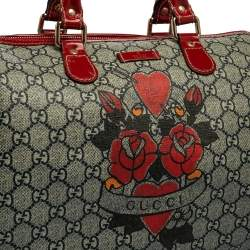 Gucci Beige/Red Heart Tattoo GG Supreme Canvas and Patent Leather Medium Joy Boston Bag