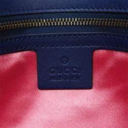 Gucci Blue Matelasse Velvet Embroidered GG Marmont Crossbody Bag