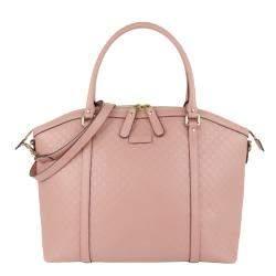 Gucci Pink Microguccissima Leather Bree Satchel Bag