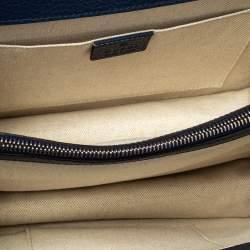 Gucci Navy Blue Leather Medium Dionysus Bamboo Top Handle Bag