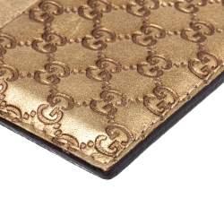 Gucci Metallic Beige Microguccissima Leather Card Holder