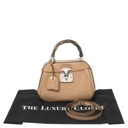 Gucci Beige Glazed Leather Mini Lady Lock Top Handle Bag