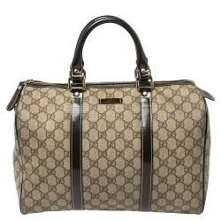 Gucci Beige/Brown GG Supreme Canvas and Patent Leather Medium Joy Boston Bag