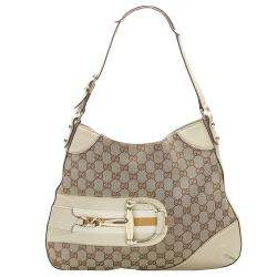 Gucci Brown/Tan GG Canvas and Leather Hasler Hobo Bag