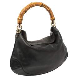 Gucci Black Leather Peggy Bamboo Hobo