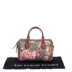 Gucci Pink/Beige GG Blooms Supreme Canvas and Leather Boston Bag