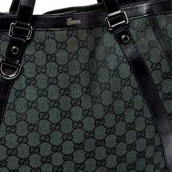 Gucci Green/Black GG Canvas and Leather Abbey Convertible Hobo