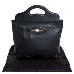 Gucci Black Guccissima Leather Large Punch Tote