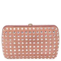 Gucci Pink Suede Crystal Embellished Broadway Clutch