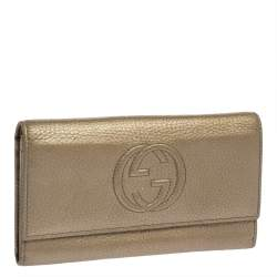 Gucci Gold Leather Soho Continental Wallet