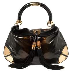 Gucci Ombre Black/Brown Patent Leather Medium Indy Hobo