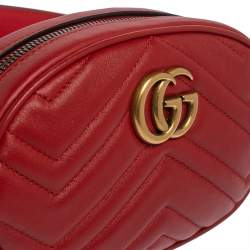 Gucci Red Matelasse Leather GG`Marmont Belt Bag