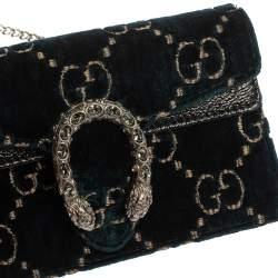 Gucci Blue GG Velvet Super Mini Dionysus Crossbody Bag