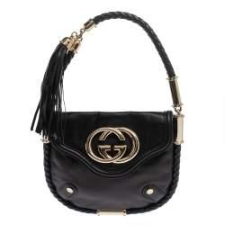 Gucci Black Leather Small Britt Tassel Hobo