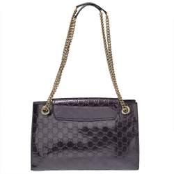 Gucci Purple Guccissima Patent Leather Large Emily Chain Shoulder Bag
