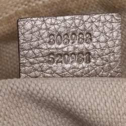 Gucci Metallic Beige Leather Medium Soho Chain Shoulder Bag