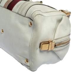 Gucci White Leather Aviatrix Medium Boston Bag
