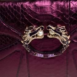 Gucci Purple Python Tom Ford Jeweled Dragon Chain Clutch
