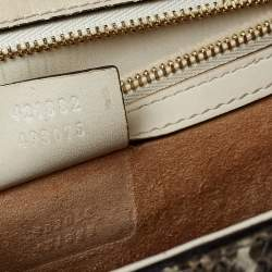 Gucci Brown/White Snakeskin Small Web Chain Sylvie Shoulder Bag