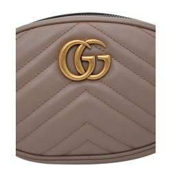 Gucci Tan Leather GG Marmont Matelassé Belt Bag