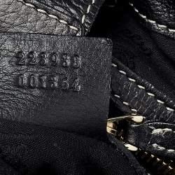 Gucci Black Leather Crest Boule Hobo