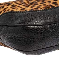 Gucci Black/Brown Leopard Print and  Leather Medium New Jackie Hobo