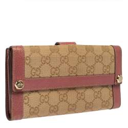 Gucci Beige/Pink GG Canvas and Leather Charmy Continental Wallet