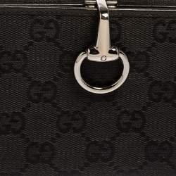 Gucci Black GG Canvas and Leather Horsebit Clasp Continental Wallet