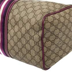 Gucci Beige/Purple GG Coated Canvas Medium Joy Web Boston Bag