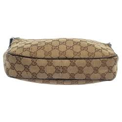 Gucci Brown/Beige GG Canvas and Leather Baguette