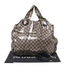 Gucci Blue/Grey GG Crystal Coated Canvas Hysteria Hobo