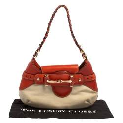 Gucci Beige/Orange Leather and Canvas Hobo