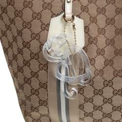 Gucci Beige/Cream GG Canvas and Patent Leather Large Jolie Web Charms Tote
